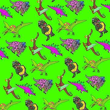 Multiple Dinosaurs Green Background by emmafifield