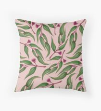 Pink Eucalyptus Pattern Throw Pillow