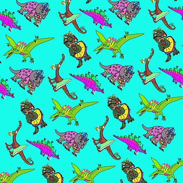 Multiple Dinosaur Design with Turquoise Background by emmafifield