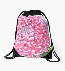 Pink Chrysanthemum Drawstring Bag
