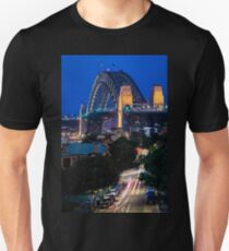 Sydney Harbour Bridge at Night with Light Trails - Long Exposure Photograph with vibrant and vivid colours Unisex T-Shirt