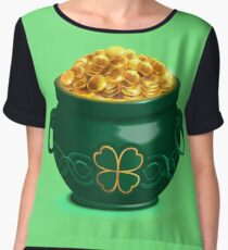 Green full pot with gold coins Chiffon Top