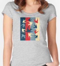 Bird Swallows Blue Red Tan Design Women's Fitted Scoop T-Shirt