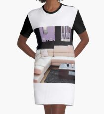 living room with modern furniture Graphic T-Shirt Dress