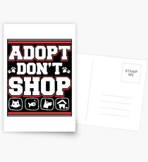 Adopt Don't Shop Animal Rescue T-Shirt For Dog Cat Lovers Postkarten