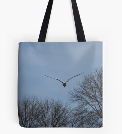 Seagull Over Trees Tote Bag