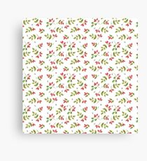 Rosehip and Bee Pattern Canvas Print