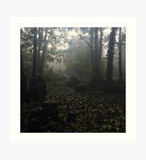 Misty graveyard Art Print