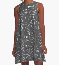 Safe with me safety pins on black with activist slogans A-Line Dress