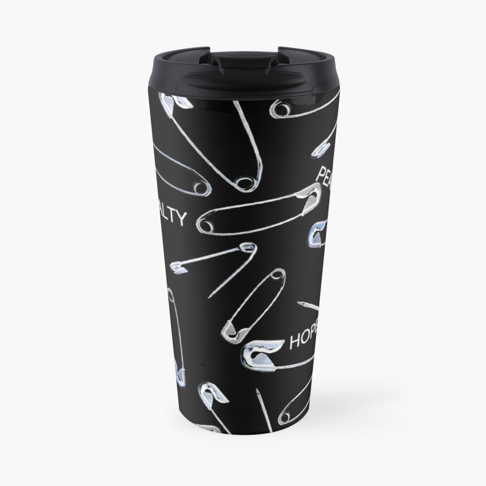 Safe with me safety pins on black with activist slogans Travel Mug
