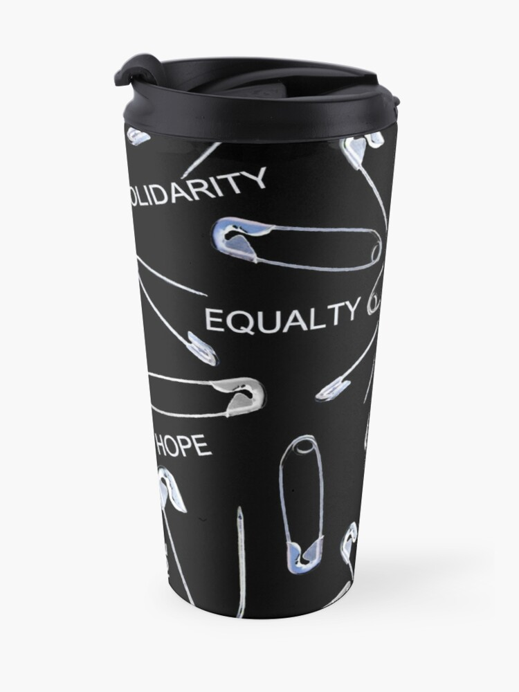 Alternate view of Safe with me safety pins on black with activist slogans Travel Mug