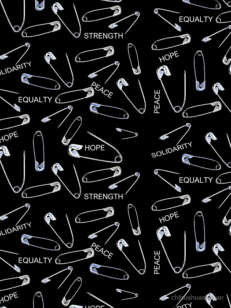 Safe with me safety pins on black with activist slogans by chihuahuashower