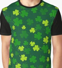 Seamless clover leaf flat design green pattern falling on dark green background Graphic T-Shirt