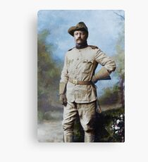 President Theodore Roosevelt in his Rough Riders uniform with his signature blue polka-dotted scarf, 26 October 1898. Canvas Print