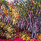 Autumn forest, Nuremberg.  Acrylic on composition board.  by Elizabeth Moore Golding