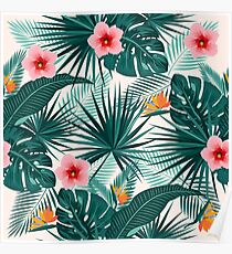 Tropical leaves and flowers seamless pattern Poster
