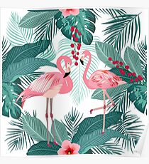 Pink flamingo, tropical leaves and flowers seamless pattern Poster