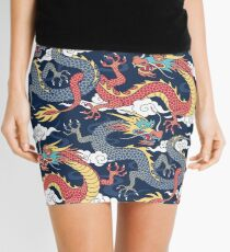 chinese dragons fighting in the clouds Mini Skirt