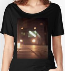 Urban landscape and bus at night Hasselblad analog medium format c41 film photo Loose Fit T-Shirt