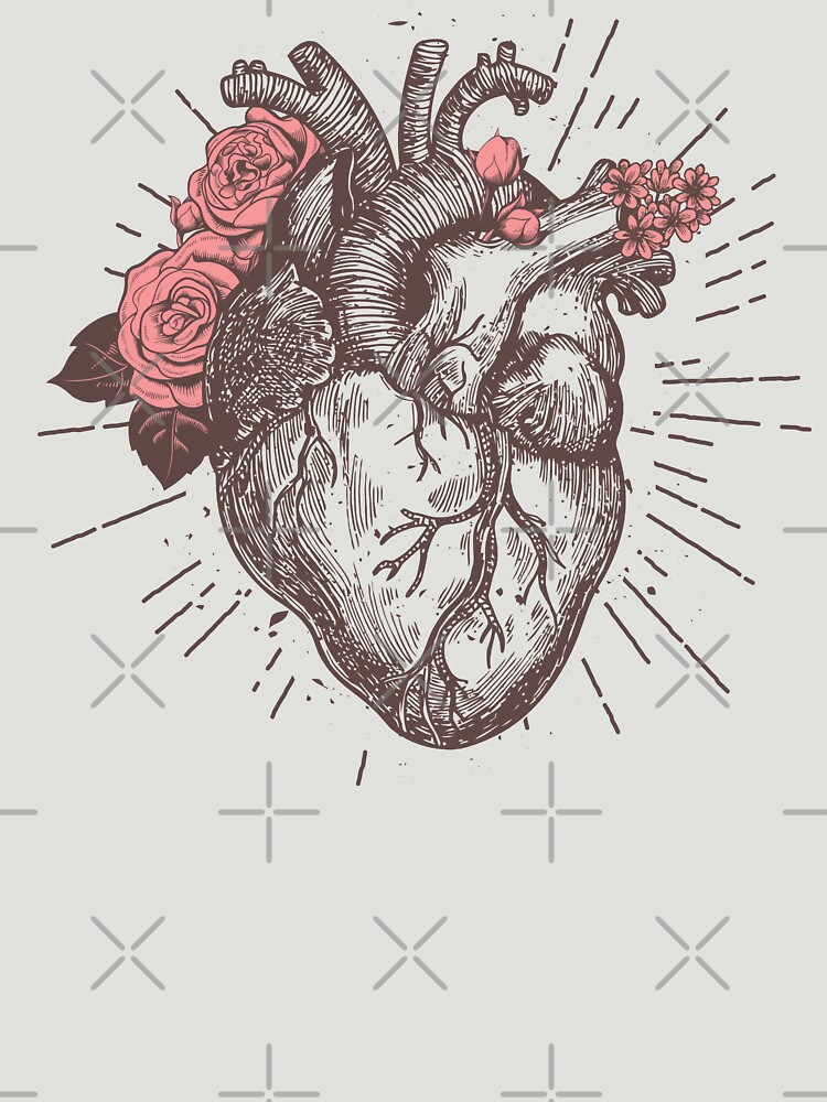 Anatomical Heart Floral Unisex T Shirt By Nameonshirt Redbubble