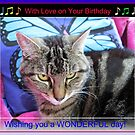 Funky Feline Birthday Card with Music Notes von BlueMoonRose