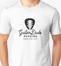 Rock And Roll Dude  70s Guitar Headstock Logo Unisex T-Shirt