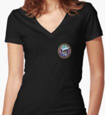 Space Mission Parody Patch No. 4 Women's Fitted V-Neck T-Shirt