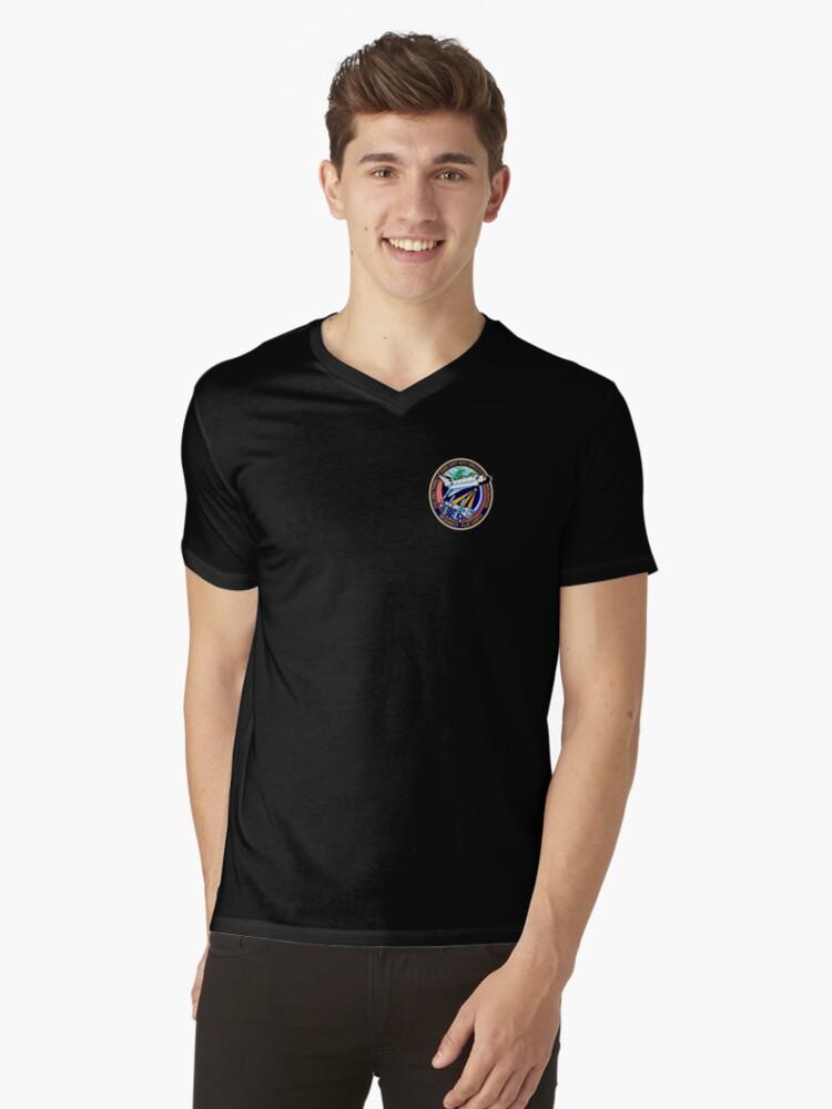 Space Mission Parody Patch No. 4 Mens V-Neck T-Shirt Front