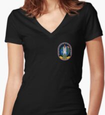 Space Mission Parody Patch No. 6 Women's Fitted V-Neck T-Shirt
