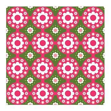 Green Pink Retro Flowers by ClassicFlower