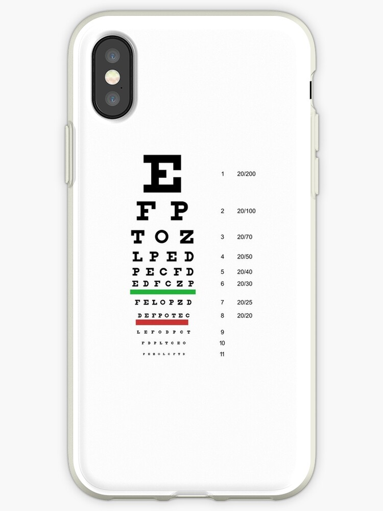 Snellen Eye Chart Iphone Cases Covers By Prodesigner2 Redbubble