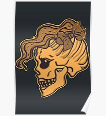 Girl Skull Head with Bow Poster