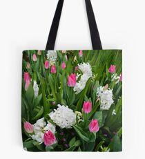 Spring pink tulip and white flowers. Tote Bag