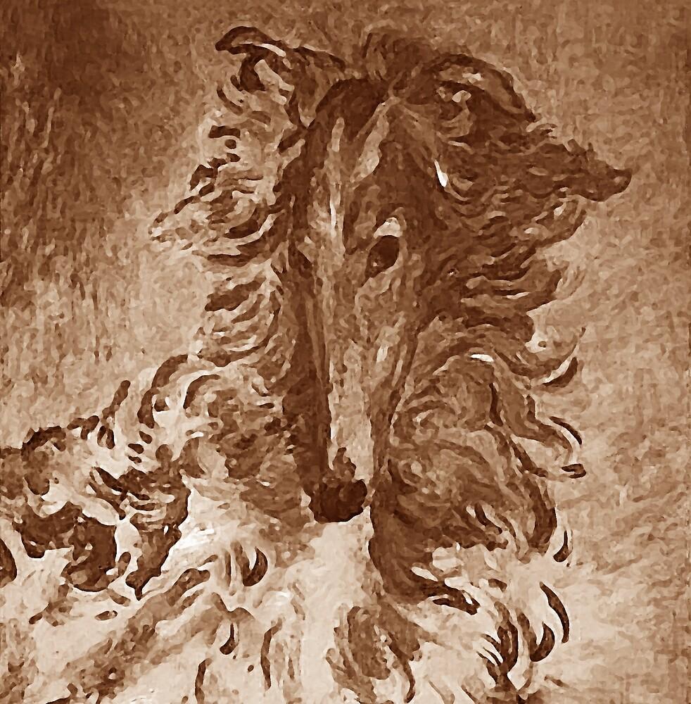 Borzoi Portrait Brown by Happy Dog Swag
