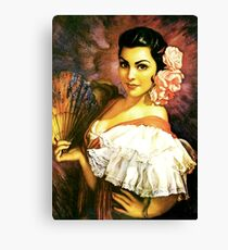 Mexican Pin-Up With Pink Shawl by Jesus Helguera Canvas Print