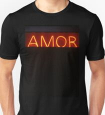 Neon light sign Amor love in Spanish on black medium format film analogue photo T-Shirt