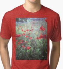 Red wild poppy flowers on green Hasselblad square medium format film analogue photograph Tri-blend T-Shirt