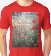 Red wild poppy flowers on green Hasselblad square medium format film analogue photograph T-Shirt