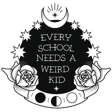 Crystal & Stars Ball Weird Kid Black & White Graphic by TotalTeeGeek