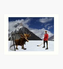 NOW THATS REAL CANADIAN HOCKEY...STARRING MOOSE AS GOALIE...R.C.M.P. MOUNTIE (POLICE) PICTURE AND OR CARD,PRINTS ECT. Art Print