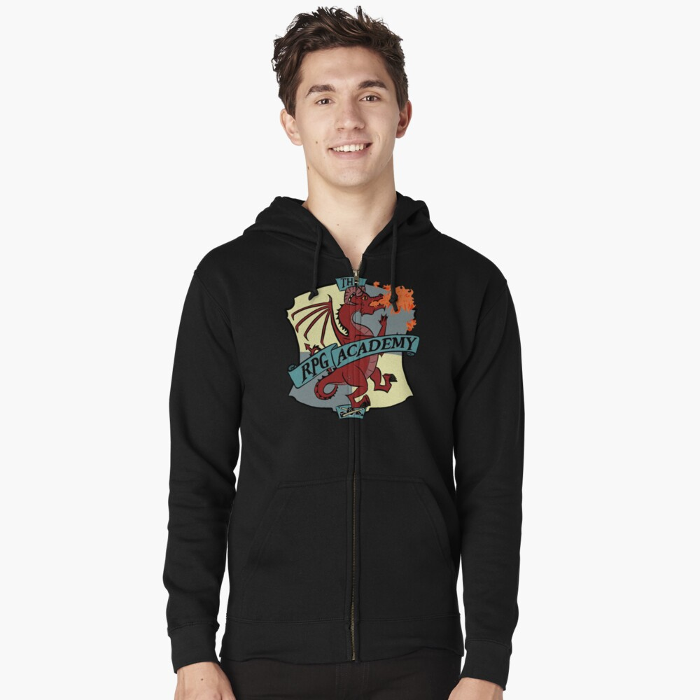 The RPG Academy Podcast logo Zipped Hoodie