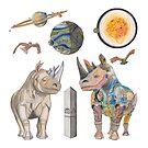 A Rhinos and Mechanical Rhino by AJLeibengeist