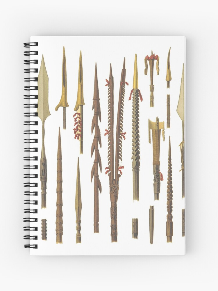African spears and weapons for fishing | Spiral Notebook