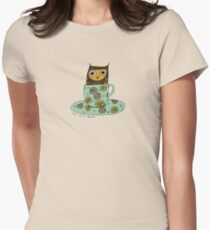 Owl in a teacup Womens Fitted T-Shirt