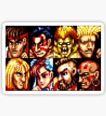 Street Fighter Retro Character List Sticker