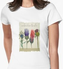watercolour thistle painting Women's Fitted T-Shirt