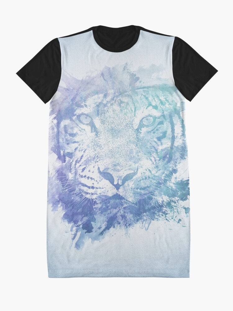 Alternative Ansicht von Abstraktes Aquarell Tiger Portrait / Face T-Shirt Kleid