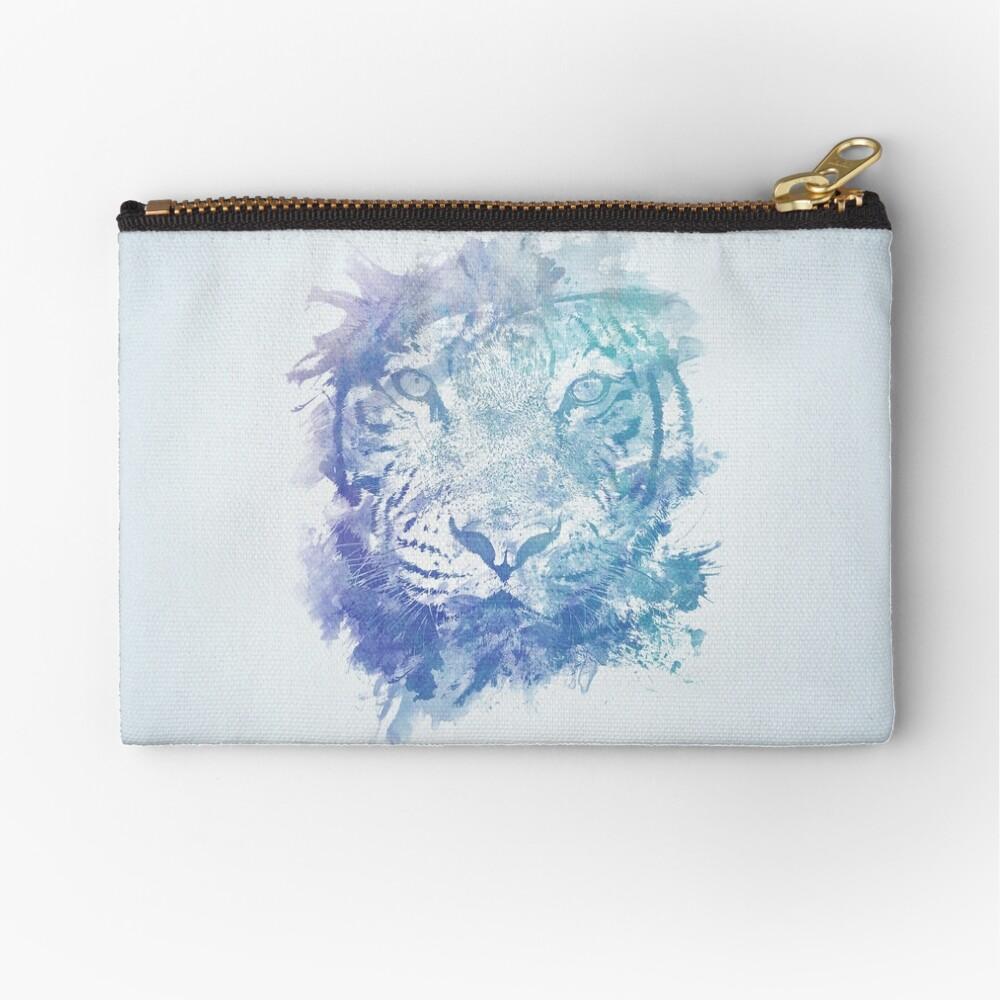 Abstraktes Aquarell Tiger Portrait / Face Täschchen