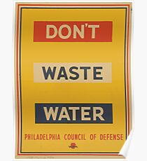 WPA United States Government Work Project Administration Poster 0907 Don't Waste Water Poster