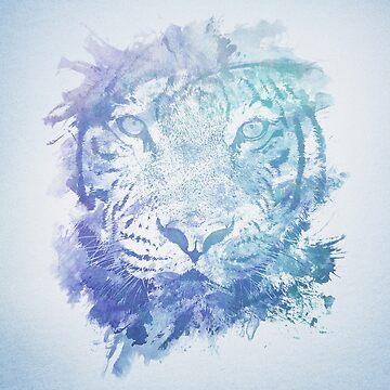 Abstraktes Aquarell Tiger Portrait / Face von badbugs